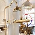 Douchekranen Wandmontage Thermostatische Douche Mengkraan Antiek Messing Dual Handle Met Glijbaan Bar Douche Voor Badkamer AST9507