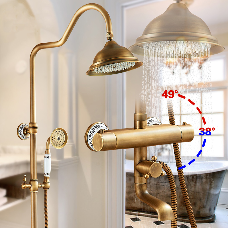 Fixado Na Parede do chuveiro Torneiras Termostática Do Chuveiro Torneira Misturadora de Bronze Antigo Dupla Alça Com Barra Deslizante Chuveiro Para Banho AST9507