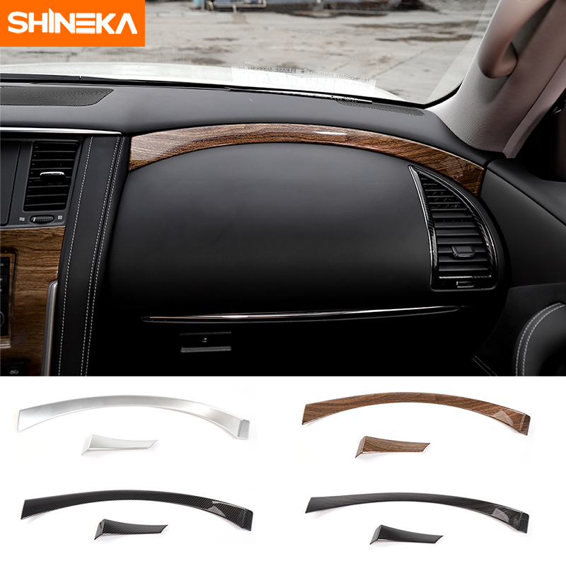 SHINEKA Car Styling ABS Dashboard Panel Copilot Decorative Strips Cover Trim for Nissan Patrol Y62 2017+ shineka abs interior kits copilot passenger side panel decoration trim carbon fibre style for 6th gen chevrolet camaro 2017