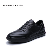 BASSIRIANA/2019 new mens casual shoes leather black high quality size 39-45 free shipping