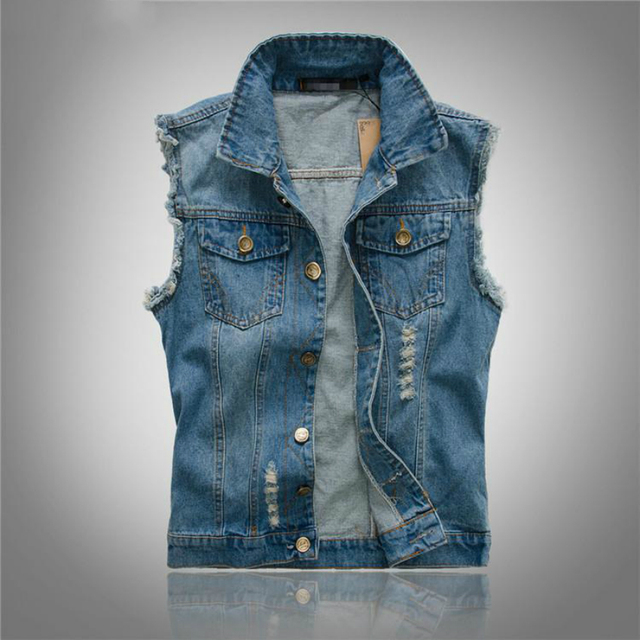Brand New Mens Denim Vest Sleeveless Jean Jacket Riding Slim Fit Men's Blue Cowboy Vests Single Breasted Casual Male Waistcoat
