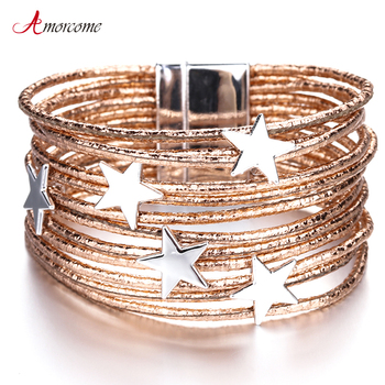 Amorcome Bohemian Star Leather Bracelets for Women Fashion Pentagram Multilayer Wide Wrap Bracelets & Bangles Jewelry Femme amorcome metal feather genuine leather bracelet for women jewelry fashion multilayer bohemian charm wide bracelets