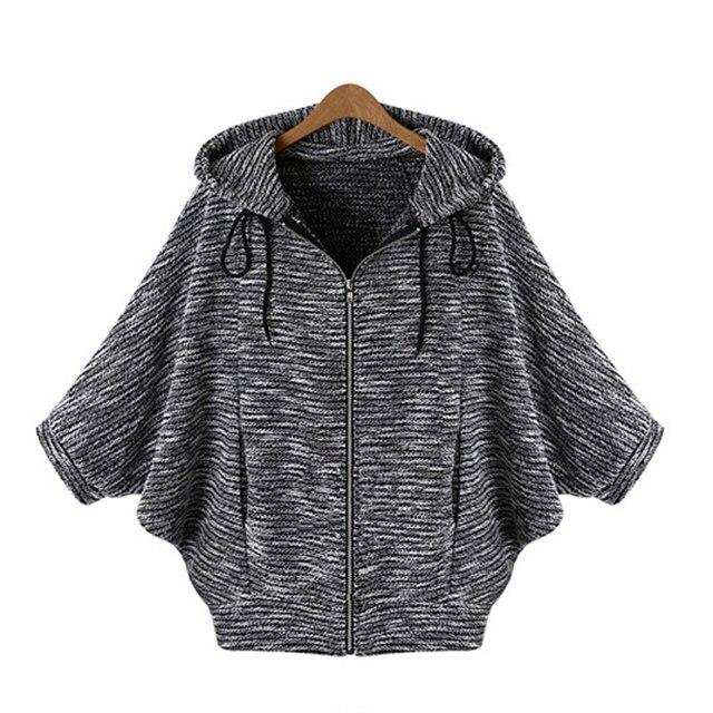 Горячая распродажа Batwing кардиган сплошной свитер три четверти с капюшоном пончо плоским трикотажные кардиганы мода женщины свитер осень