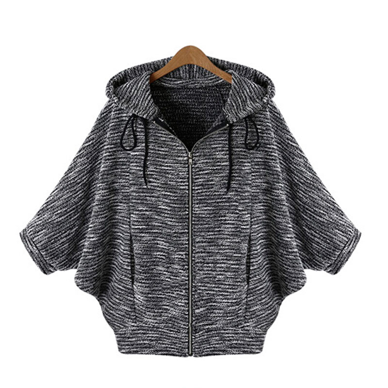 Hot Sale Batwing Sleeve Cardigan Solid Sweater Three Quarter Hooded Poncho Flat Knitted Cardigans Fashion Women Sweater Autumn