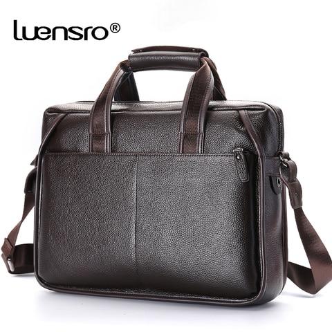 LUENSRO Fashion Men Briefcase Genuine Leather Handbag Male 14 inch Laptop Bag Real Leather Bussiness Shoulder Bag For Men 2018 Karachi