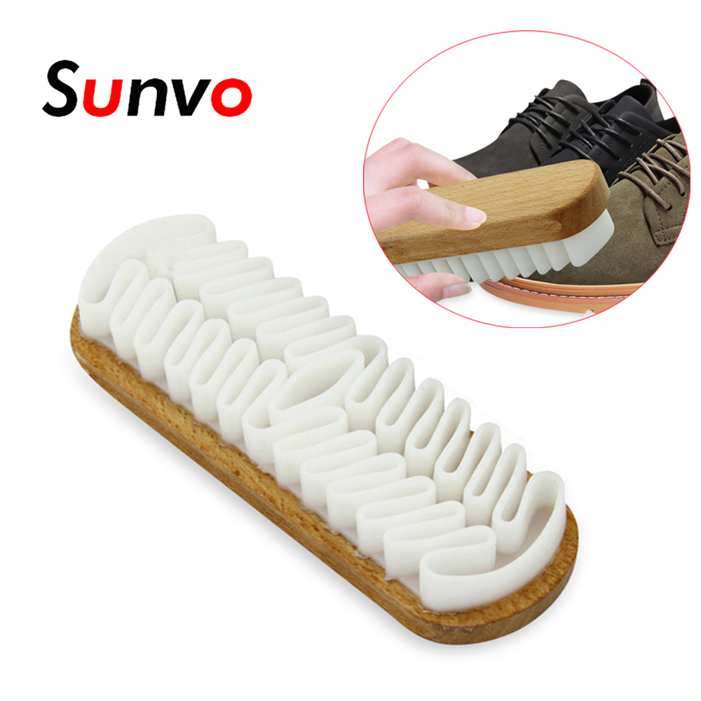 Sunvo Natural Rubber Brush For Suede Nubuck Material Leather Crepe Shoes/Boots/Bags Scrubber Cleaner Beech Base Shoes Care Brush