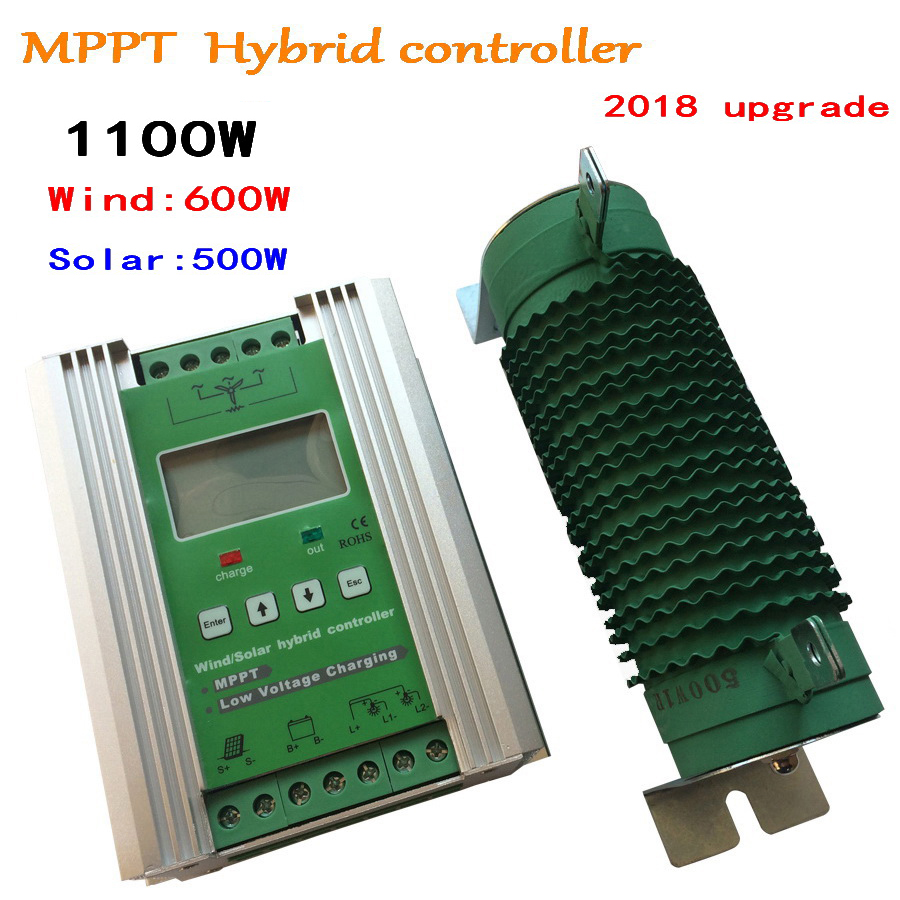 1100W Boost MPPT Wind Solar Hybrid Controller Wind 600W+Solar 500W 12/24v,Turbine Charge Controller Free Dump Load Off Grid wind and solar hybrid controller 600w with lcd display charge controller for 600w wind turbine and 300w solar panel 12v 24v