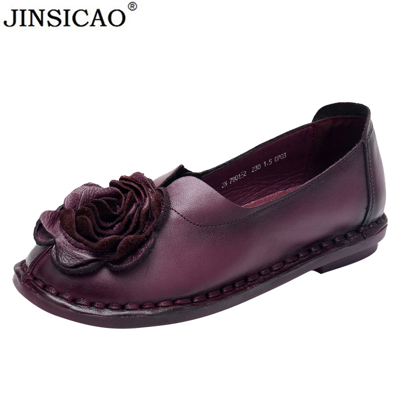 2019 New Retro Pure Handmade Shoes Genuine Leather Women Shoes Elegant Flowers Flats Comfortable Round Toe