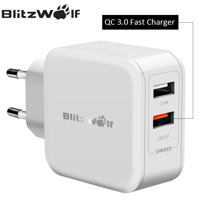 BlitzWolf QC3.0 USB Adaptador de Carregador de Parede Viagem Carregador Do Telefone Móvel Carregador rápido Para iPhone X 8 6 s Plus Para Samsung smartphones