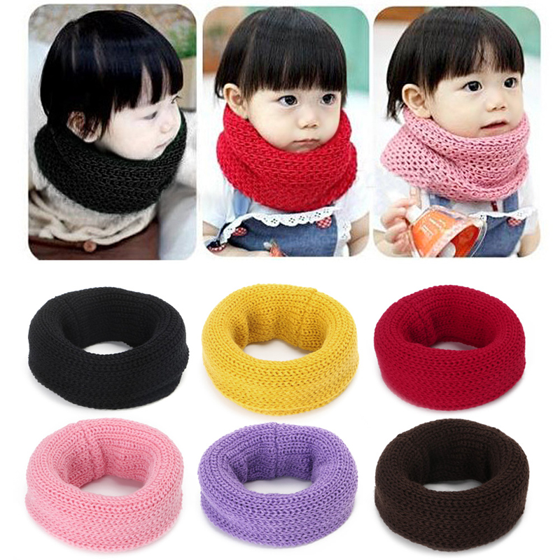 Children Kids Boys Girls Candy Color Scarves Knitted Soft Warm Wool Winter Scarf