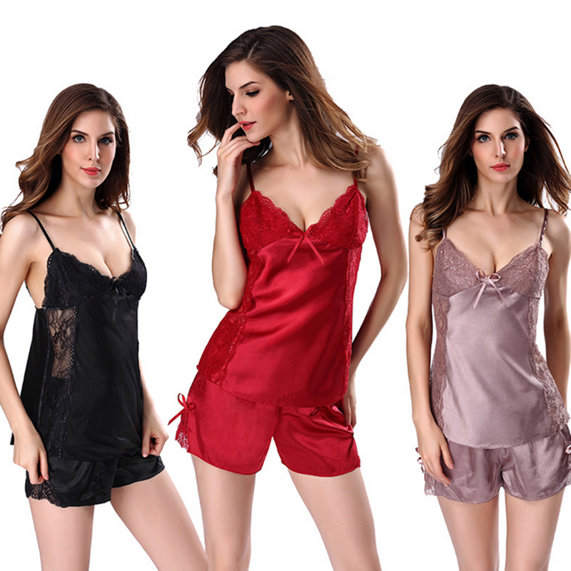 Smooth Simulati Silk Women Sleepwear Ladies Sexy Lingerie Sleepdress Nightdress   Nightgown     Sleepshirts   Homewear Shorts Underwear
