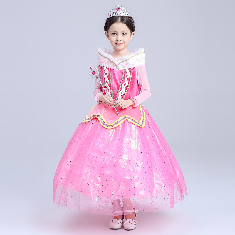 Halloween Princess Aurora Girl Dress Long Sleeve Kids Cosplay Dress Up Costumes Sleeping Beauty Kids Tulle Party Dress 4-10Years