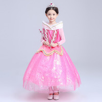 Halloween Princess Aurora Girl Dress Long Sleeve Kids Cosplay Dress Up Costumes Sleeping Beauty Kids Tulle
