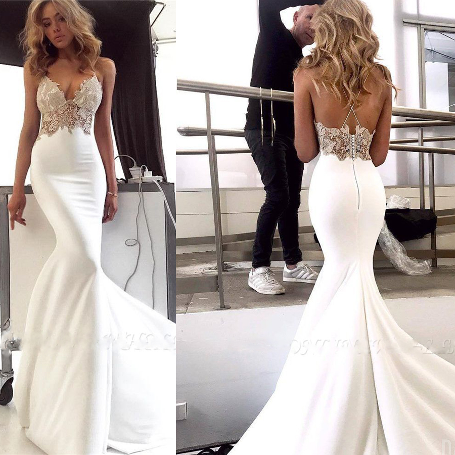 Sexy V-neck Soft Satin Crossed Straps Back Mermaid Wedding Dress With Lace Applique Sweep Train Backless Bridal Party Dress