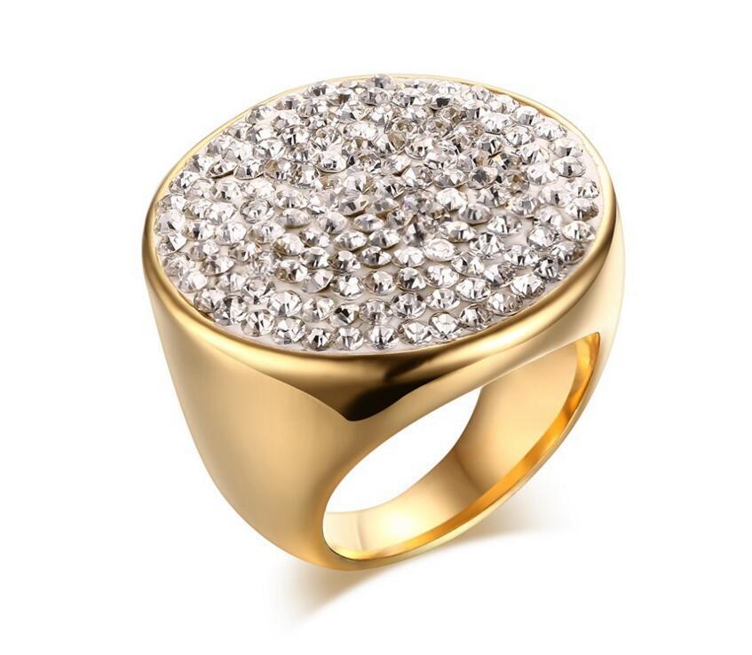 1f13cac7cc7 Moda Anéis de Cristal Para Mulheres Rhinestone do Aço Inoxidável Casamento  Adolescente do Sexo Feminino anel de Jóias Shambhala