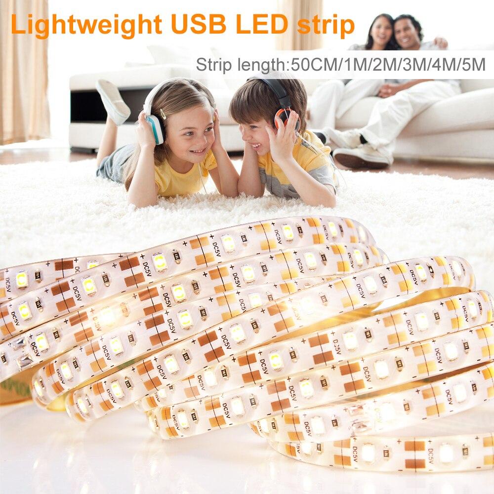 Usb 5v Led Strip Waterproof 2835smd Striscia Led Tv Strip Flexible Lamp Led Light Tape Ribbon Tira 1m 2m 3m 4m 5m Closet Lights