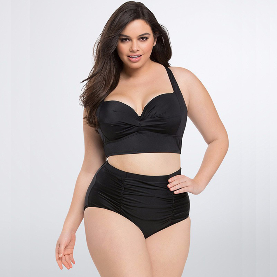Sexy Women Plus Size Bikinis Printed Push Up Bikini Set Black High Waist Retro Swimwear Biquini Swimsuit Bathing Suit Beach 5XL newest plus size bikini women ladies sexy retro padded push up high waist bikinis set swimwear swimsuit bathing xxxl