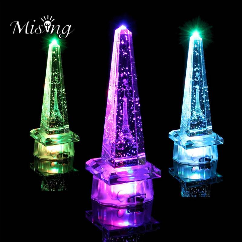 Mising 3D LED Romantic Crystal Eiffel Tower Night Light Table Lamp Transparent String Lights Ourdoor Garden Bedroom Decoration
