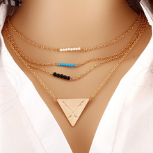 3 Layer Chain Necklace Beads Long Strip Pendant Jewellery