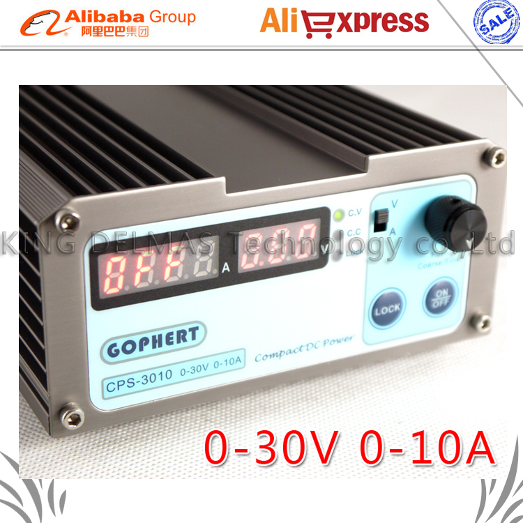 Free shipping CPS-3010 300W (110Vac/ 220Vac) 0-30V/0-10A, Gopher Compact Digital Adjustable DC Power Supply CPS3010 + plug EU 110vac 30 cps dh48j digital counter relay