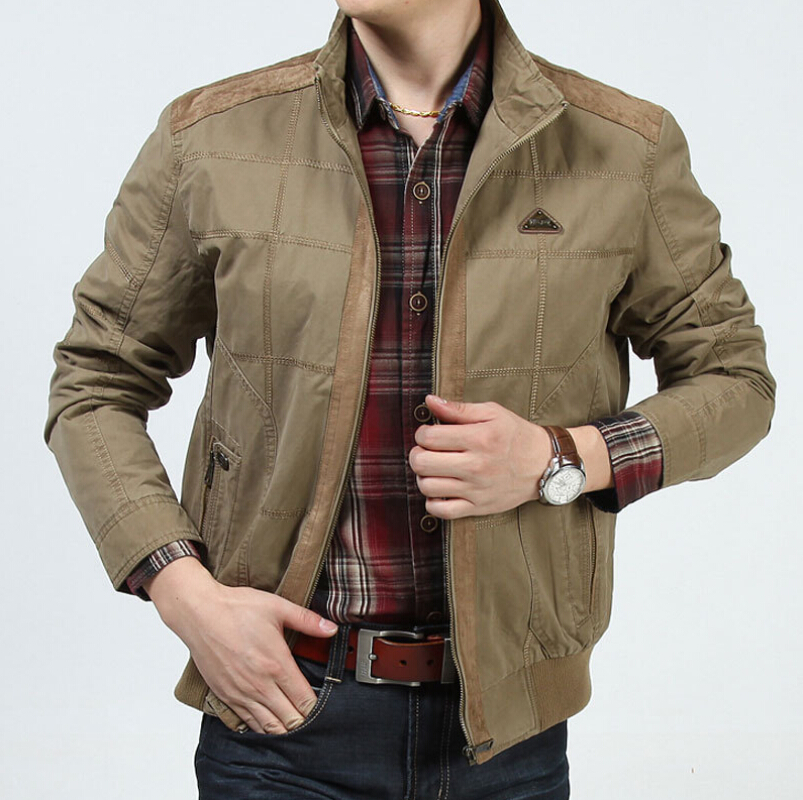 New 2017 Plus Size Loose Men Jacket Brand-clothing Spring and Autumn 100% Cotton Military Mens Jackets and Coats Afs Jeep Brand