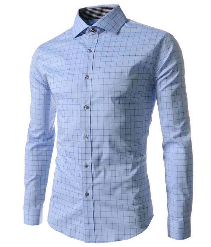 HOT Sale New 2015 High Quality Mens Designer Stripes Dress Shirts Tops Casual Slim Long Shirts 14 Color Size M-5XL  50
