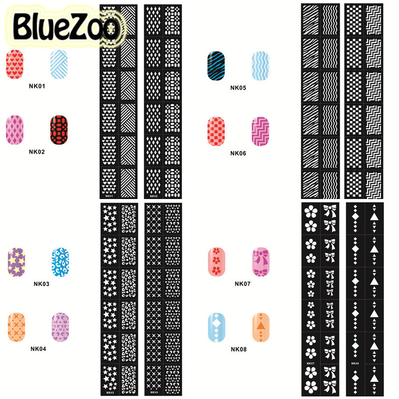 BlueZoo 24pcs Hollow Out Nail Template Stickers Flowers Butterfly Heart Stamp Template Nail Sticker DIY Nail Decals Beauty Tips any hollow out nail template stickers laser star wheel triangle pattern nail sticker designs nail art