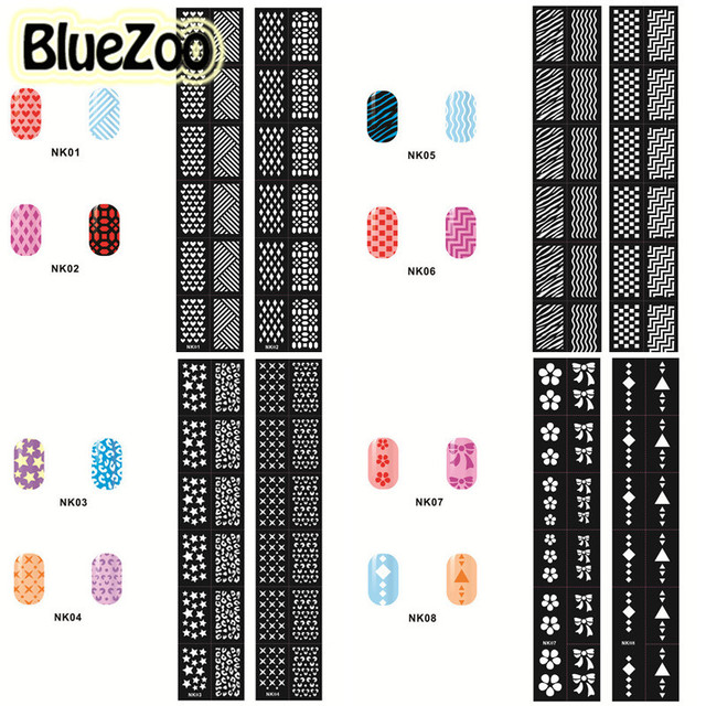BlueZoo 24pcs Hollow Out Nail Template Stickers Flowers Butterfly Heart Stamp Template Nail Sticker DIY Nail Decals Beauty Tips