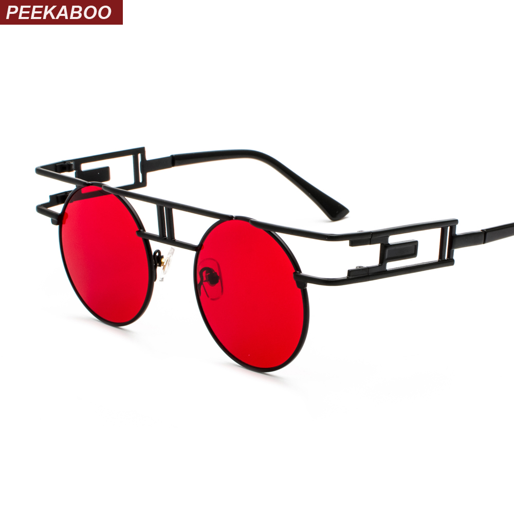 2f97efcdd1 Peekaboo vintage gothic steampunk sunglasses men retro round metal frame  yellow red circle sun glasses for women unisex uv400-in Sunglasses from  Apparel ...