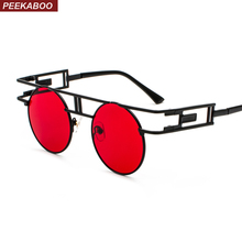 acdc9cae2cd Peekaboo vintage gothic steampunk sunglasses men retro round metal frame  yellow red circle sun glasses for