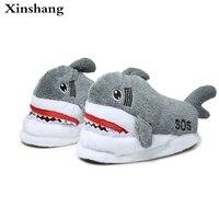 2017 Good Quality Shark Home Slippers Women Men Cotton Warm Short Plush Slippers Indoor Shoes Pantufa