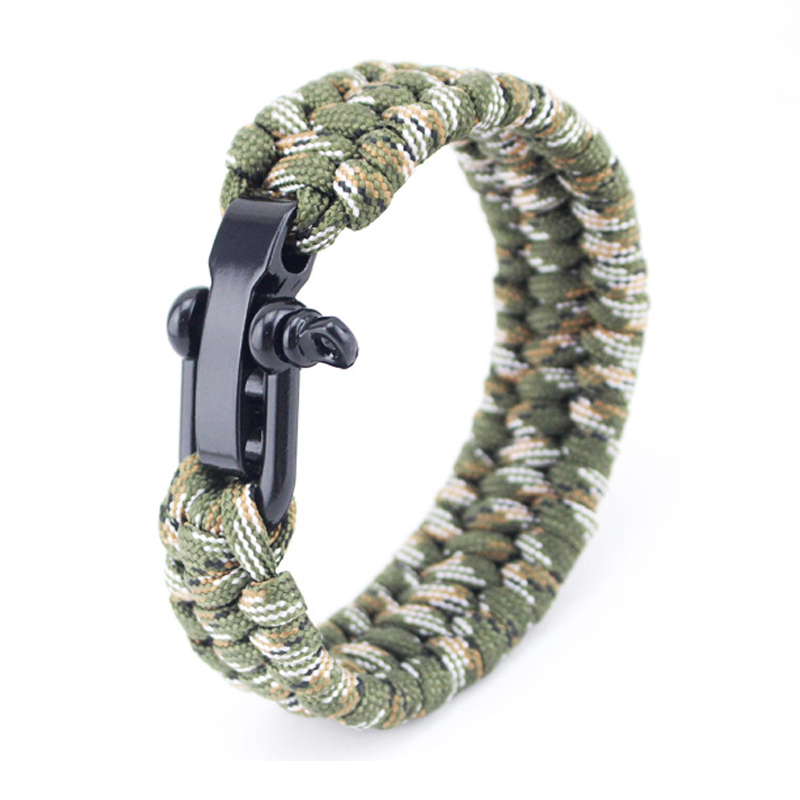 LOULEUR Paracord Survival Bracelet for Men Women Outdoor Camping Woven Parachute Braided Rope Stainless Steel Buckle