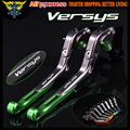 Laser Logo(Versys) Green+Titanium 8 Colors CNC Adjustable Motorcycle Brake Clutch Levers For Kawasaki VERSYS 1000 2012 2013 2014