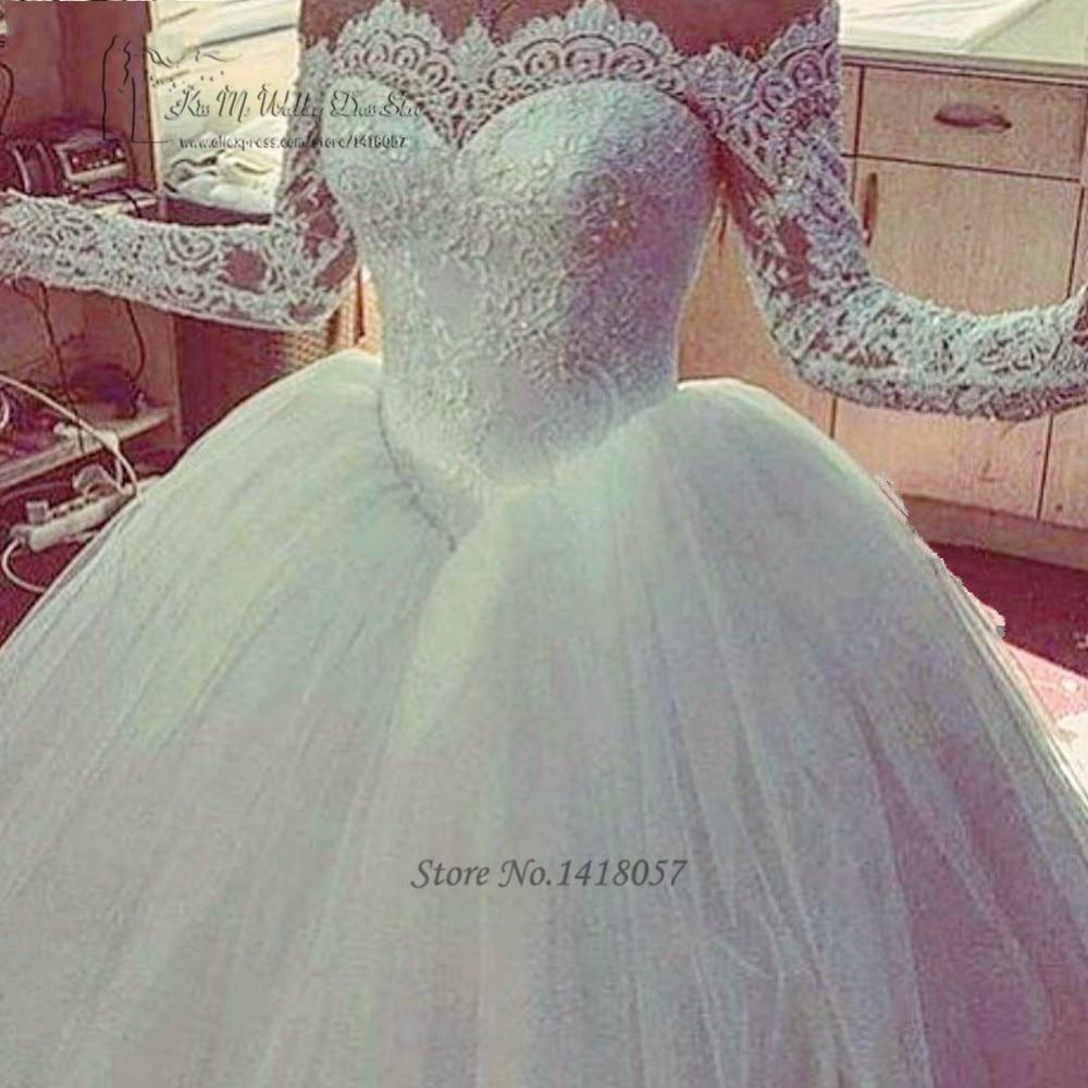 Паффи элегантный Свадебные и Бальные платья пикантные Robe De Mariage с открытыми плечами Кружево Свадебные платья с длинным рукавом платье невес
