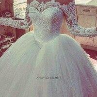 Пышное элегантное бальное платье Свадебные платья сексуальное платье с открытыми плечами кружевные свадебные платья с длинным рукавом сва
