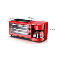 LSTACHi 3 in 1 Home Breakfast Machine Coffee Maker Frying Pan Bread Toaster Electric oven Bread baking machine