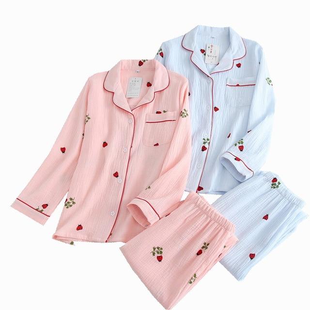 2019 New Ladies Pajamas Set Cartoon Ladybug Printed Crepe Cotton Gauze Simplicity 2 Piece Set Women Soft Comfort Household Wear