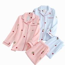 Pyjama pour femme, ensemble 2 pièces, vêtement ménager doux et confortable, collection 2019, imprimé coccinelle, en gaze de coton, crêpe, simplicité