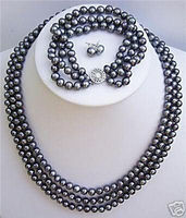 3 rows Natural cultured black pearl necklace bracelet earrings set