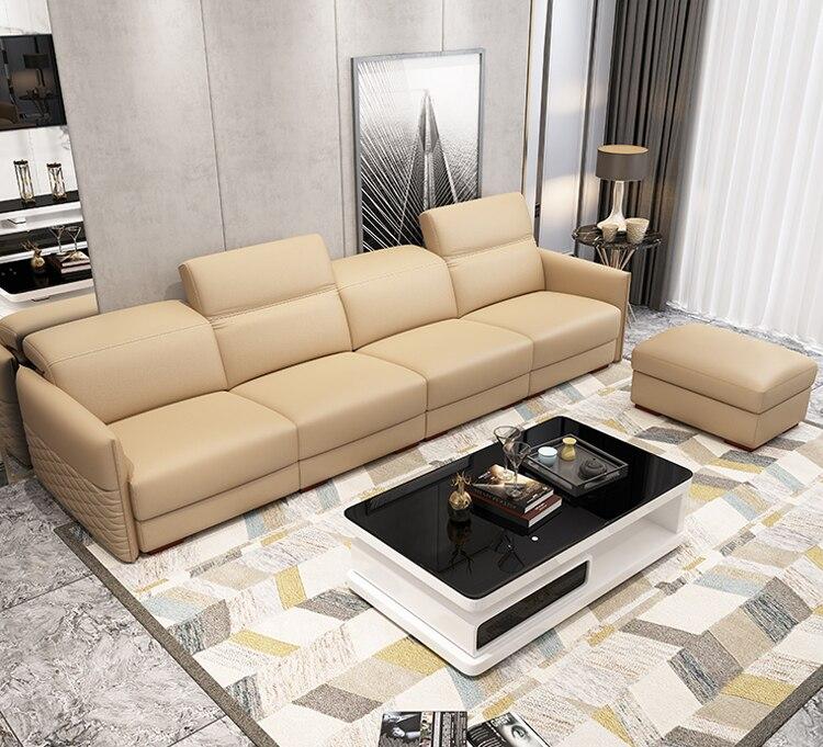Sofa Ruang Tamu Set Furniture Nyata Kulit Sapi Asli Kursi Puff Asiento Muebles De Sala