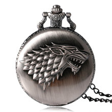 2017 Hot Necklace Watches Gray Tone Honorable Stark House Wolf Quartz Pocket Watch Pendant Game of Thrones Theme Long Chain