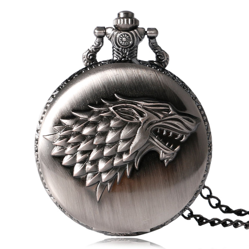 2018 Hot Quartz Pocket Watch Women Watches Gray Tone Stark House Wolf Pendant Long Chain Men Watch Necklace Fob Clock Gifts unique big crystal red garnet inset pendant clock man charming evil dragon new gold tone case quartz pocket watch necklace chain