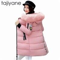 Tajiyane mujeres Abrigos moda invierno cálido Chaquetas mujeres Pieles de animales collar parka largo más tamaño Sudaderas casual Abrigos de plumas Outwear algodón hotnz7