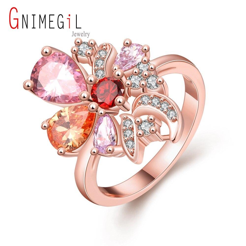GNIMEGIL Brand Jewelry Gold Filled Women Rings CZ Zircon Gem ...