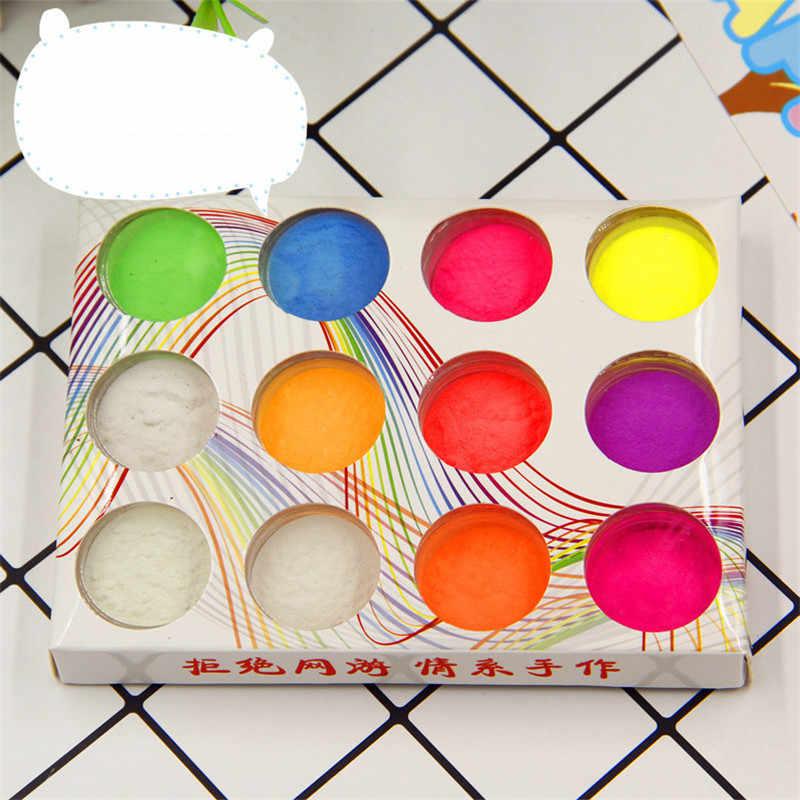 12 colori Super Luminoso Luminoso In Polvere Slime Accessori in Argilla Polimerica Pendenti e Ciondoli FAI DA TE Materiali Unghie artistiche Stampi e Decorazioni A Resina Epossidica
