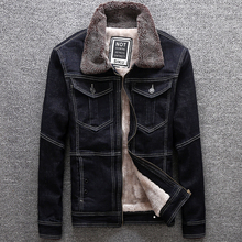 Winter Fashion Men Jacket Black Spliced Classical Warm Coat Windproof Denim Jackets Korean Wool Velvet Big Size S-5XL