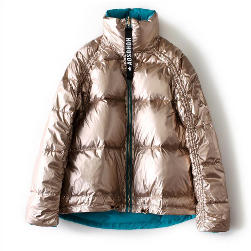 Down Coat Female Winter Jacket Women 2018 Warm Duck Down Jacket Bread Coat Double Side Turtleneck Collar Outwear Short Parkas