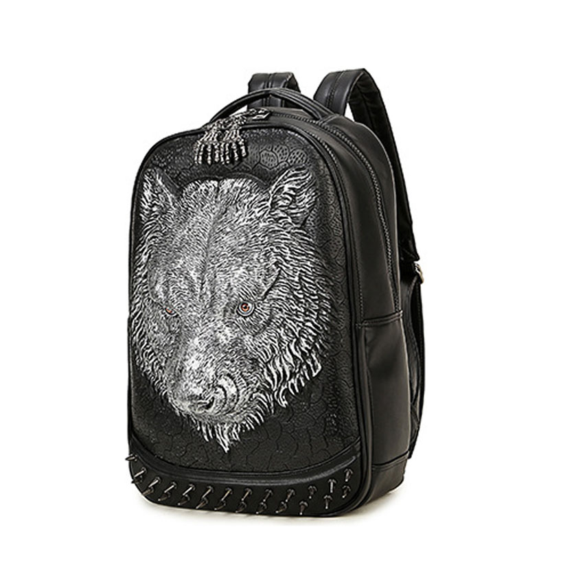 Fashion Women Travel Backpack 2017 PU Leather 3D Tiger Backpack For Teens  Men Women Shoulder Bag Large Capacity Laptop Backpack-in Backpacks from  Luggage ...