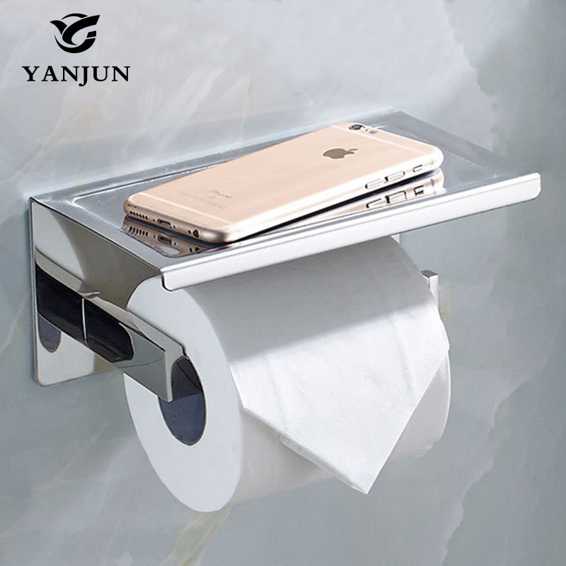 Yanjun Sanitary Paper Toilet Paper Holder With Phone Shelf Self adhesive Roll Dispenser Bathroom Accessories YJ 8820