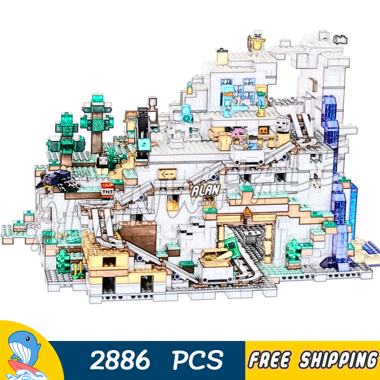 2886pcs My World The Huge Mountain Cave Minecart Track 10735 Model Building Blocks Kids Bricks Compatible with Lego Minecrafted